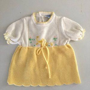 60s VTG NANN-KNITS Baby Girl Dress Size 3-6 Mo